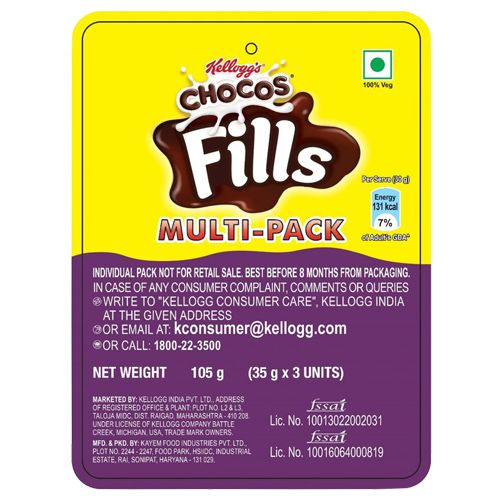 Kelloggs Kelloggs Chocos Fills Multi-Pack, 105g