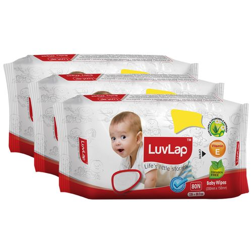Luvlap Baby Wet Wipes - With Aloe Vera & Chamomile Extract, Paraben Free, 72 pulls Pack of 3 + 24 Wipes Free