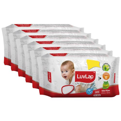 Luvlap Baby Wet Wipes - With Aloe Vera & Chamomile Extract, Paraben Free, 72 pulls Pack of 6 + 48 Wipes Free