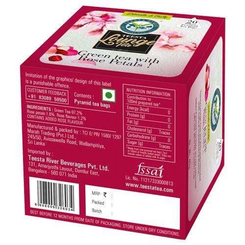 Teesta Lounge Green Tea Bags - with Rose Petals, 20 Bags x 2 gm, Each 40 gm