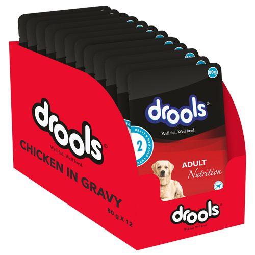 Drools Dog Food - Real Chicken & Liver in Gravy, Adult Dog, 80 gm