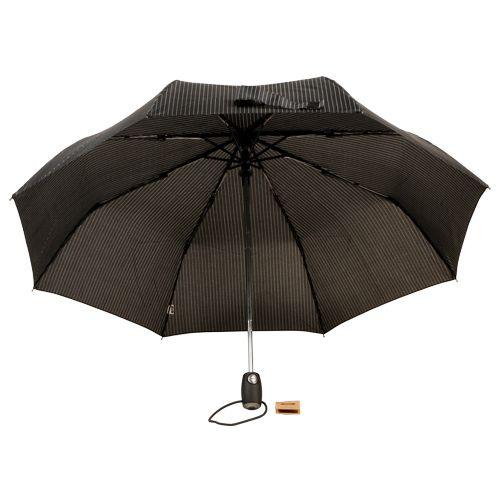 Parachase Umbrella - Three Fold, Auto Open & Close, Windproof, White Striped Black, 1 pc