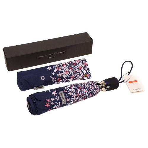 Parachase Umbrella - Three Fold, Auto Open & Close, Windproof, Floral Printed Navy Blue, 1 pc