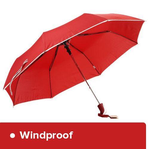 Parachase Umbrella - Three Fold, Windproof, Plain Red Coloured, 1 pc