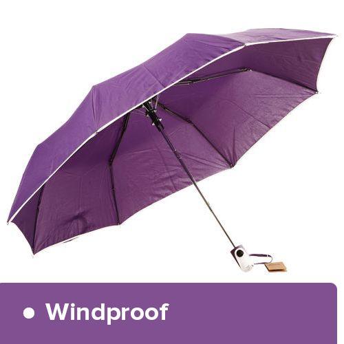 Parachase Umbrella - Three Fold, Windproof, Plain Purple Coloured, 1 pc