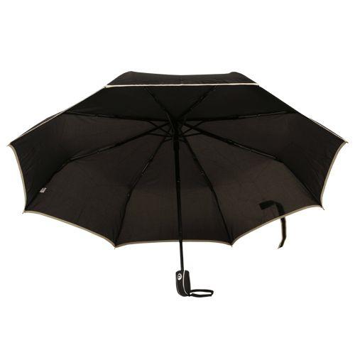 Heng Dun Umbrella - Three Fold, Auto Open & Close, Waterproof, Plain Black with Cream Border, 1 pc
