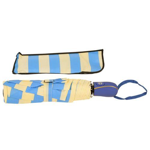 DP Umbrella - Three Fold, Auto Open & Close, Waterproof, Sky Blue & Off White Striped, 1 pc