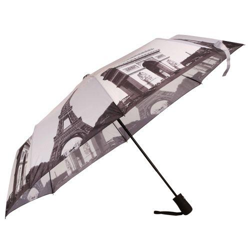 Heng Dun Umbrella - Three Fold, Auto Open, Waterproof, Monuments Printed, Eiffel Tower, 1 pc
