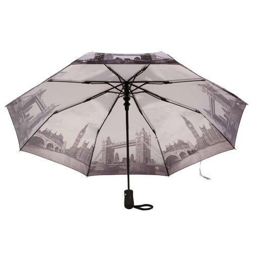 Heng Dun Umbrella - Three Fold, Auto Open, Waterproof, Monuments Printed, London Bridge, 1 pc