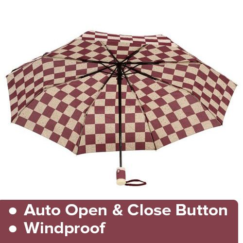 DP Umbrella - Three Fold, Auto Open & Close, Windproof, - Printed, Cream & Maroon, 1 pc