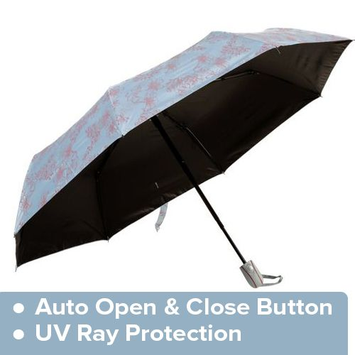 Daily Luck Umbrella - Three Fold, Flower Printed, Auto Open & Close, UV Rays Protection, Sky & Pink Flower, 1 pc