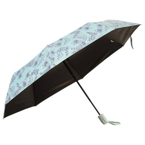 Daily Luck Umbrella - Three Fold, Flower Printed, Auto Open & Close, UV Rays Protection, Pastel Blue, 1 pc