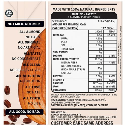 Raw Pressery Almond Milk - Coffee, Lactose Free, Dairy Free, Vegan, 1 L