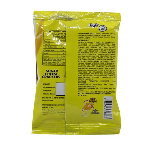 Gery Gone Mad Crackers - Cheese & Sugar, 20 g