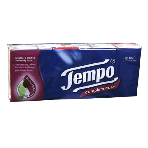Tempo Complete Care Handkerchief - 4 Ply, 10 packs