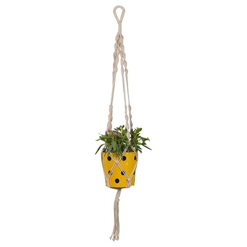 Trust Basket Planter - Round, Dotted, With Contemporary Hanger, Yellow, 1 pc