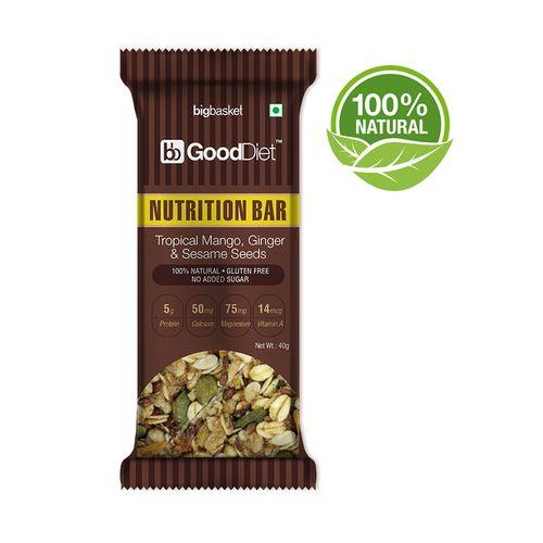 GoodDiet Nutrition Bar - Tropical Mango, Ginger & Sesame Seeds, 40 g