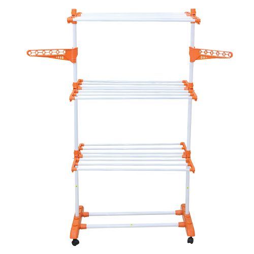 Ciplaplast Jumbo Steel Cloth Dryer - Orange, 60x75x160 cm