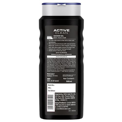 Nivea Active Clean Shower Gel With Activated Charcoal For Hair, Face & Body Wash, 500 gm