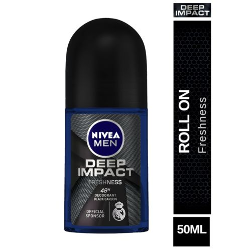 Nivea Deep Impact Freshness Deodorant Roll-On For 48h Freshness With Black Carbon, 50 ml