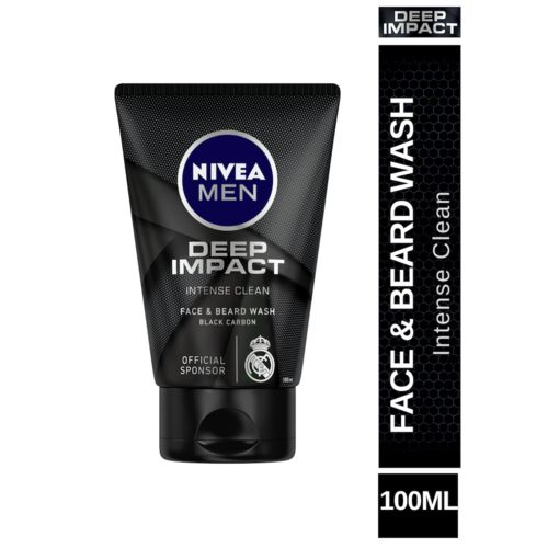 Nivea Men Deep Impact Intense Clean Face & Beard Wash - Black Carbon, 100 ml