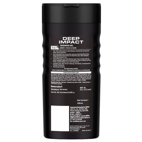Nivea Deep Impact Cleansing Shower Gel With Black Carbon, 3-In-1 - Hair, Face, Body Wash, 250 ml