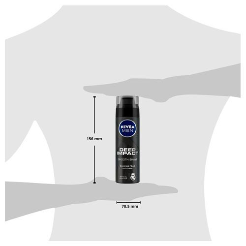 Nivea Deep Impact Smooth Shave Shaving Foam With Black Carbon, 200 ml