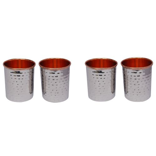 Tallboy Steel Copper Hammered Water Tumbler, 4 pcs