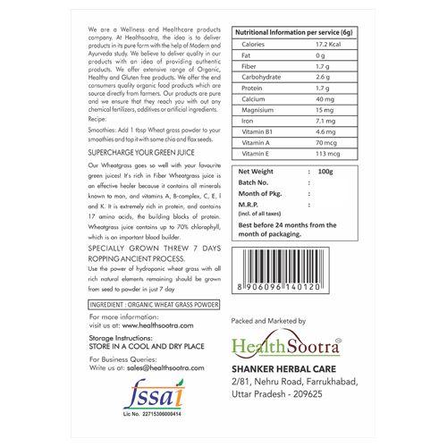 Healthsootra Powder - Wheat Grass, 100 gm