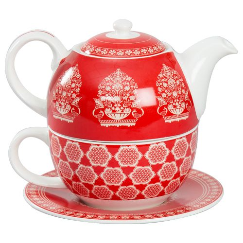 India Circus Tea Cups- For One Set, Red & White, Royal Print, 3 pcs