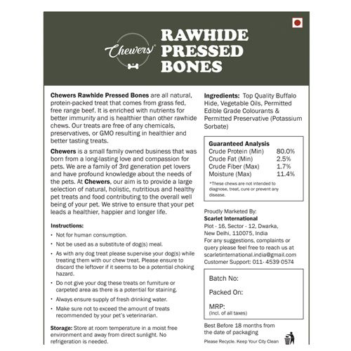 Chewers Dog Treat - Rawhide Pressed Bones, 10 Inches, 650 gm Contains 2 pcs