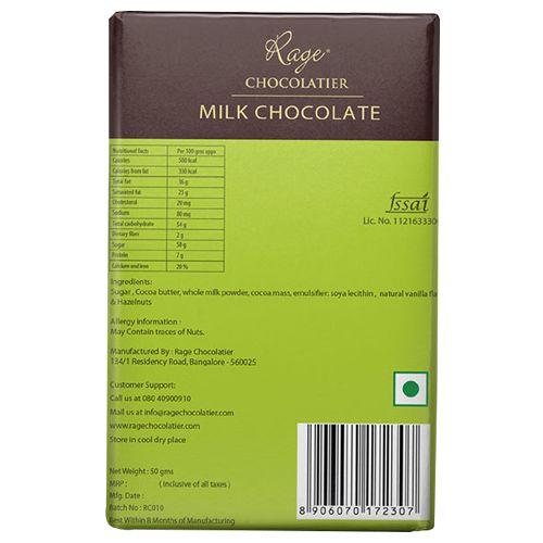 Rage Chocolate - Milk, Hazelnut, 50 gm