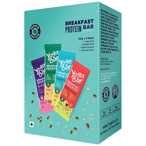 Yoga bar Breakfast Protein Variety Bar - Almond Coconut, Apricot & Fig, Blueberry, Apple Cinnamon, 50 gm Pack of 6