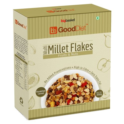 GoodDiet Multi Millet Flakes - With Fruits & Nuts, 350 g