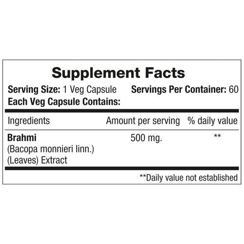 Morpheme Remedies Capsules - Brahmi, Bacopa, 500 mg, Veg, 60 pcs
