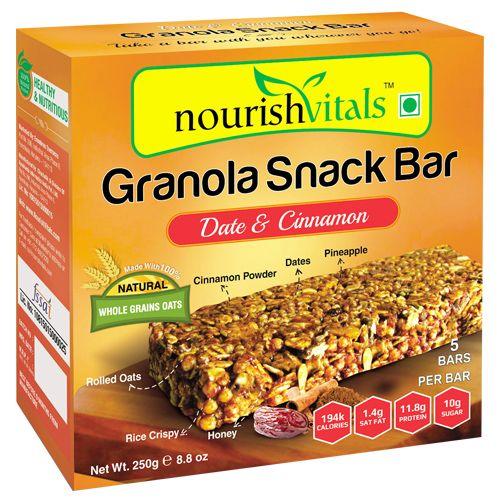 Nourishvitals Snack Bar - Granola, Date & Cinnamon, 5 pcs