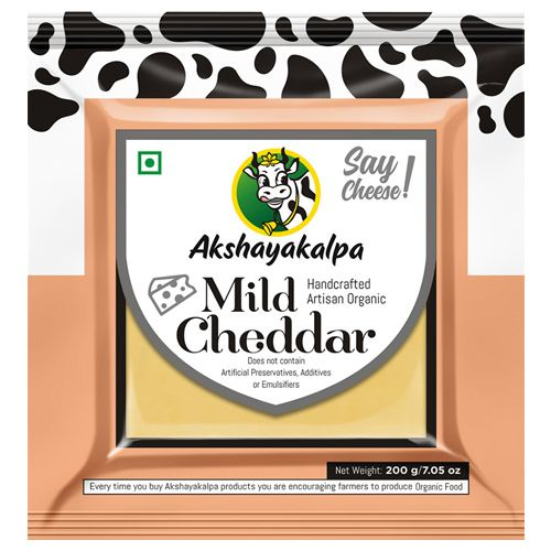 Akshayakalpa Cheese - Organic, Cheddar, Mild/ Plain Young, 200 gm