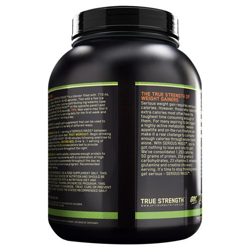Optimum Nutrition (ON) Serious Mass Weight Gainer Powder - 6 lbs, (Chocolate), 2.72 kg Tub