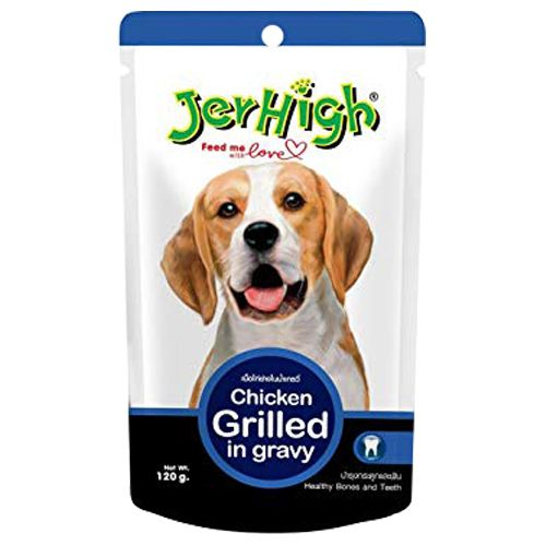 Jerhigh Pet Food - Chicken Grilled in Gravy, 120 gm Pack of 5