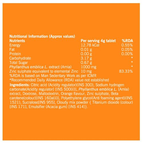 FAST&UP Tablets - Charge, Natural Vitamin C, Tube, Orange Flavour, 20 pcs