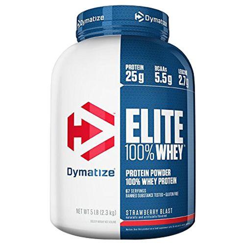 Dymatize Whey Protein - 100%, Strawberry Blast, Elite, 5 lbs