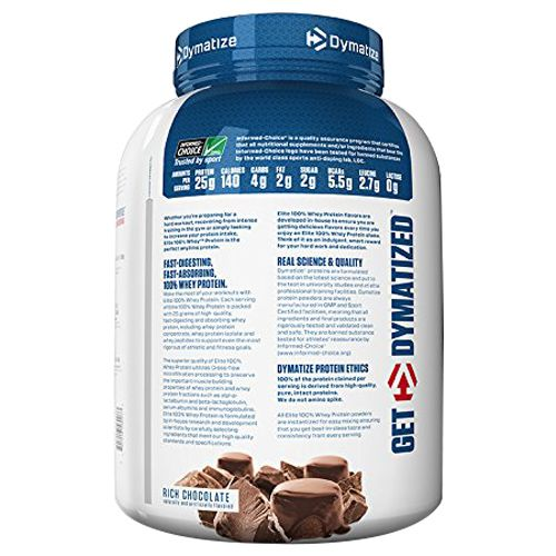 Dymatize Whey Protein - 100%, Rich Chocolate, Elite, 5 lbs