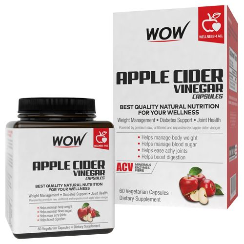 Wow Life Science Capsules - Apple Cider Vinegar, 60 pcs