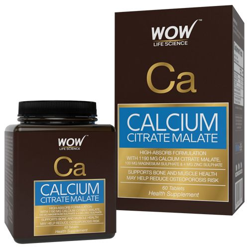 Wow Life Science Tablets - Calcium Citrate Malate, 60 pcs