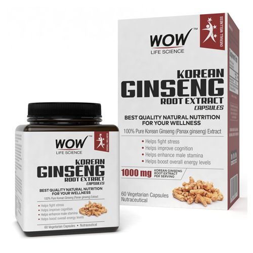 Wow Life Science Capsules - Korean Ginseng Root Extract, Vegetarian, 60 pcs