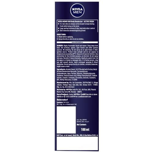 Nivea Men Duo Body Deodorizers - Active Fresh, Gas Free with Freshness Guard Technology, 100 ml