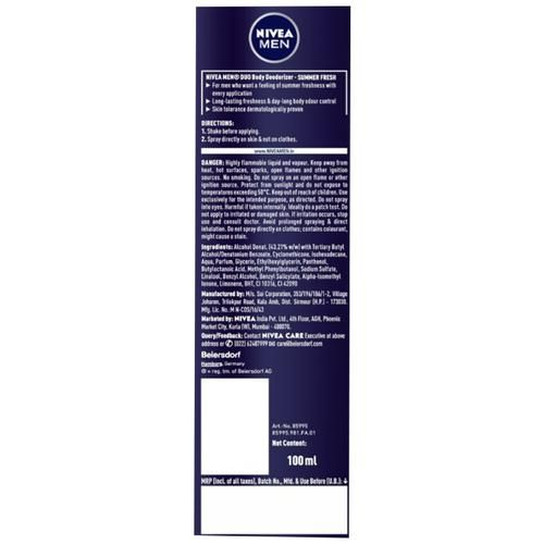 Nivea Men Duo Body Deodorizer - Summer Fresh, Gas Free with Freshness Guard Technology, 100 ml