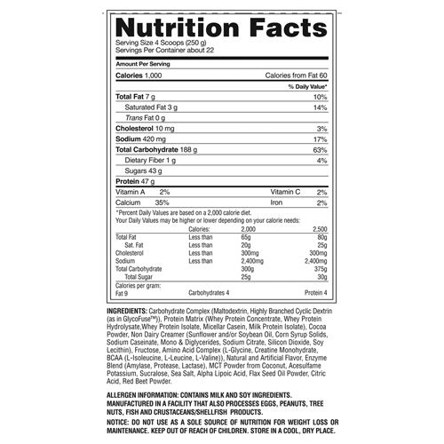 Gaspari Nutrition Real Mass - Advanced, Strawberry Milk Shake, 12 lb