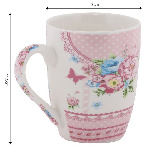 Rslee Coffee-Tea-Milk Mug - Floral White Dot Print, 275 ml