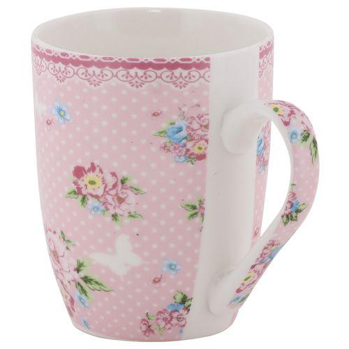 Rslee Coffee-Tea-Milk Mug - Floral with White Butterflies Print, 275 ml